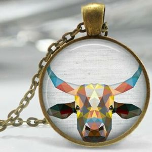 Geometric steer cow head animal necklace pendant